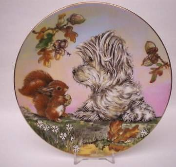Royal Worcester Rspca Plate Scamp And The Squirrel Making Friends Collection