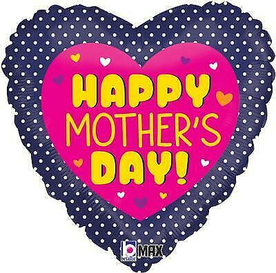 """Happy Mothers Day Swiss Dots 18"""" Foil Heart Balloon"""