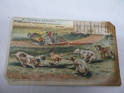 1880's Deering Harvesting Machinery Trade Card with Dogs