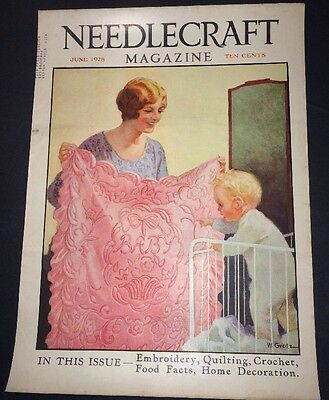 Mother Baby Blanket Art Antique Sewing Needlecraft Cover 1928 William Grotz