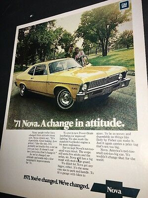 1971 Chevy Chevrolet Nova Auto Car Ad General Motors Color Hot Rat Rod
