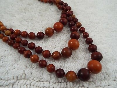Vintage JAPAN Three Strand Wood Grain Resin Bead Necklace (D19)