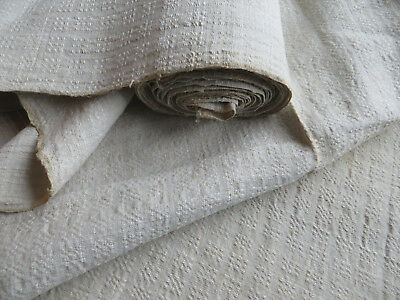 Unused Antique   Handwoven  White of Cream Linen Fabric Geometrics 5.25 Yards