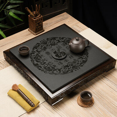 weighted tea tray blessing words black stone tea table ebony wood edge carved