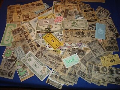 100 pc Ephemera Lot, Game & Play Money, Foreign Notes, Reproductions, Novelty