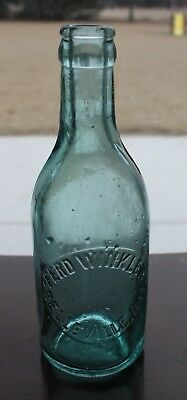 Vintage FERD WINKLER BELLEVILLE, ILLS. SODA POP EMBOSSED GREEN BOTTLE HTF