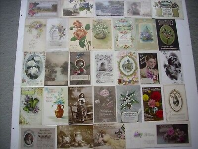 COLLECTION 55 VINTAGE BIRTHDAY GREETINGS POSTCARDS. EARLY 1900's