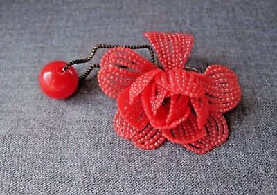 Vintage Nice Design Red Plastic Large  Flower Pony Tail Hair Band Unused