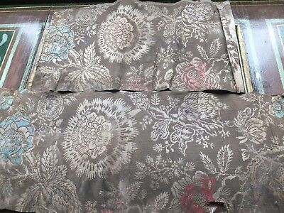 2 fragments 18th Century silk fabric. Collector or experiment! Carnations?