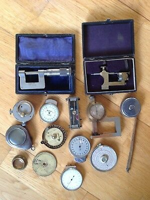 Antique Collection Of Precision Industrial Machinery Measuring Instruments