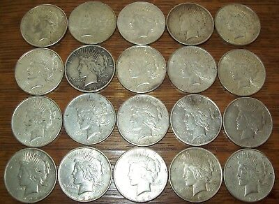 Roll of 20 Peace Silver Dollars VF-XF Nice Coins 1922, 1923, 1924, P-D-S