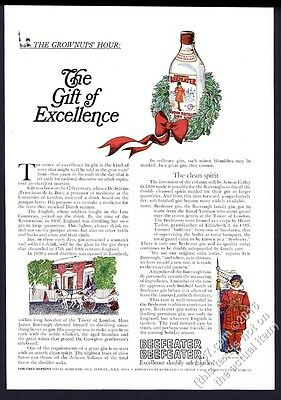 1965 Beefeater gin Christmas theme illustrated vintage print ad