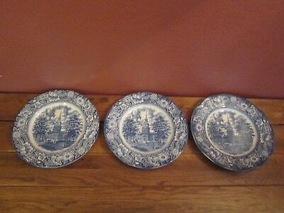 """Lot of (3) Vintage Liberty Blue Dinner Plates Independence Hall 9 7/8"""" England"""