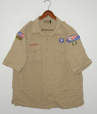 BOY SCOUTS Of America UNIFORM Shirt #60 NYLON Scout w Patches Adult Mens : XL