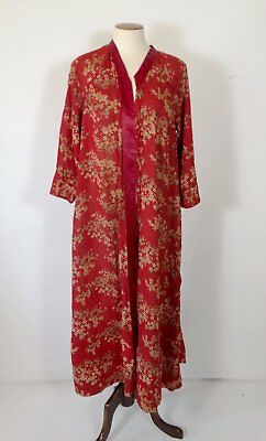 Antique Victorian Edwardian Dressing Gown Robe 36 Cotton Gauze Red Asian Print