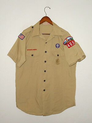 BOY SCOUTS Of America UNIFORM Shirt #465 Scout w Patches Adult USA Mens : LG