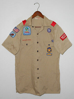 BOY SCOUTS Of America UNIFORM Shirt #1002 Scout w Patches Adult USA Mens MD