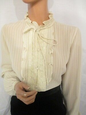 Vintage Uk:10 Cream Stripe High Ruffle Floral Lace Neck Victorian Style Blouse