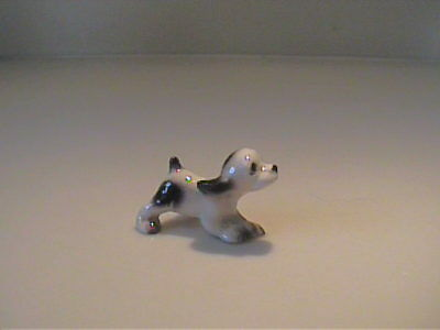 Vintage Miniature Hagen Renaker Running Black & White Puppy Dog