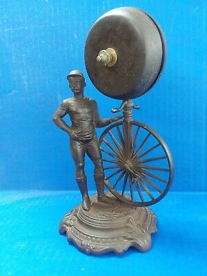 c.1870's ANTIQUE HIGH WHEEL BICYCLE PENNY FARTHING CAST IRON HOTEL COUNTER BELL