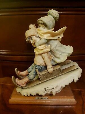 Capodimonte  G Armani Figurine, Boy and Girl on Sledge, Signed 1982 Florencia