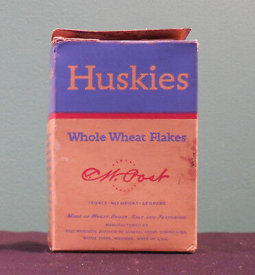 1930s CW Post Huskies Cereal complete box 1z size Whole Wheat Flakes RARE