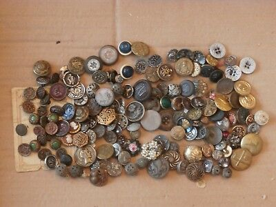 Large Group Mixed Lot Small Antique Buttons Brass Glass Pattern Flower Floral