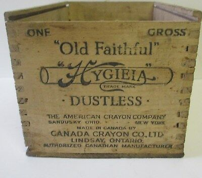 "Antique CANADA CRAYON CO. LINDSAY ONT DOVETAILED WOODEN. BOX ""Old Faithful"