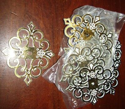Brass & White Colored French Provincial Drawer Pull Backer ... New Old Stock