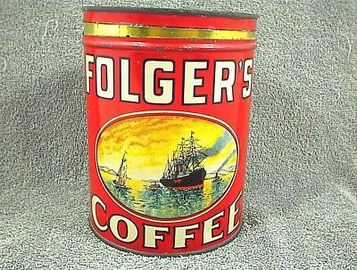 Vintage Folgers Coffee Can Golden Gate Folger`s 2 Pound Empty Tin G062