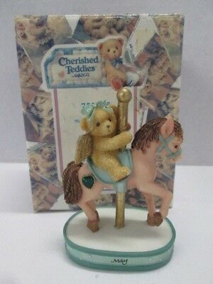 Enesco Cherished Teddies May Monthly Carousel Figurine #755265 BRAND NEW IN BOX!