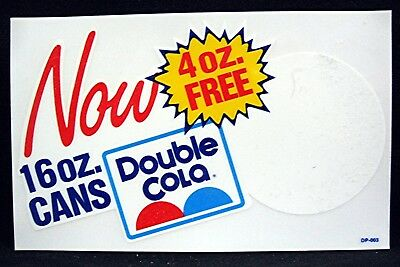 Double Cola 16 oz Cans Now 4 oz Free Advertising Sticker Soda Pop Sign Old Stock