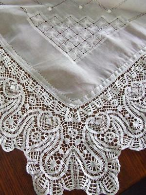 Beautifully Worked White Vintage Organdy Table Throwover, Deep Cotton Lace Edges