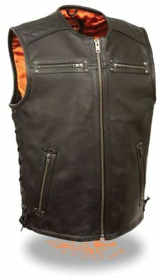 Milwaukee Mens Zipper Front Full Side Lace Leather Vest Black