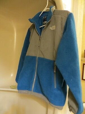 Boys Size LARGE Blue and Gray Full Zip THE NORTH FACE Denali Jacket Coat