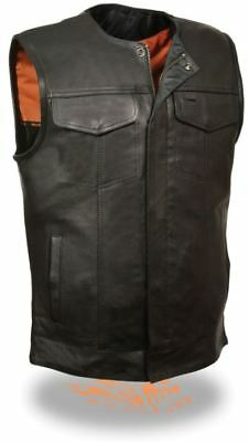 Milwaukee Mens Collarless Snap/Zip Front Club Style Leather Vest Black