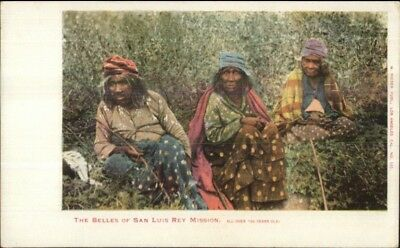Old Native Indian Women Belles of San Luis Rey Mission CA Postcard