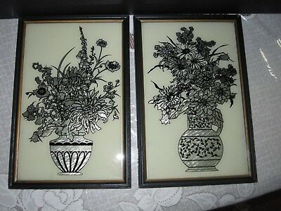 2 Reliance Butterfly Wing Effect Silhouette Foil Reverse Paintings Florals Paris