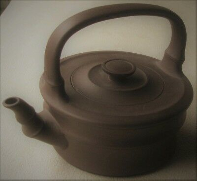 Chinese Small Chocolate Brown Clay Teapot. Yixing Clay. Signed