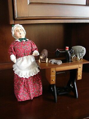 Byers Choice Caroler Mrs Claus Sewing Animal Pull Toys Sewing Machine TALBOTS