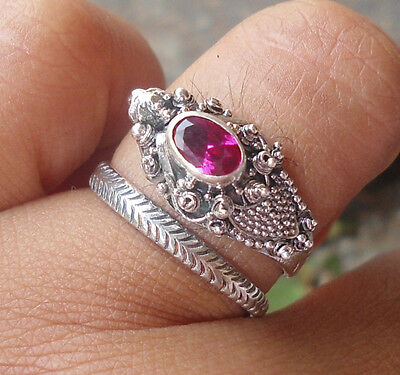 5X 925 Sterling Silver Balinese Dragon Ring Free Size With Ruby Cut-LH01