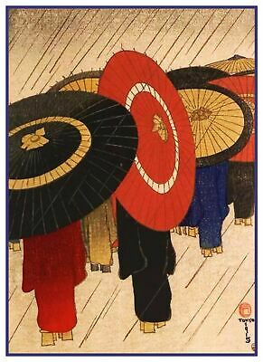 Asian Umbrellas Bamboo Road Woodblock Japanese Counted Cross Stitch Pattern