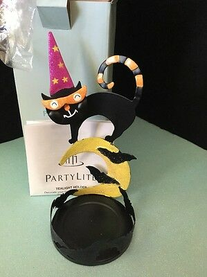 PartyLite HALLOWEEN CHARMED CAT CANDLE HOLDER P90517 CAT CANDLE HOLDER NEW