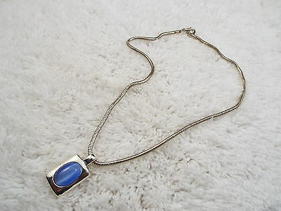Silvertone Blue Cat's Eye Glass Cabochon Pendant Necklace (C72)