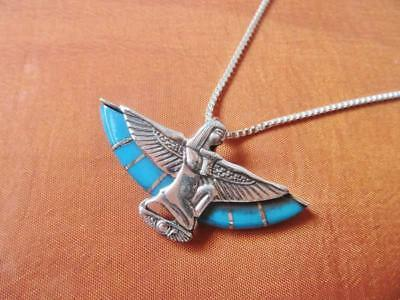 Antique Egyptian Silver Pendant Necklace Chain of Ancient Queen ISIS ..STAMPED
