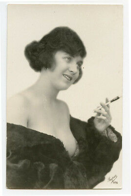 1920s French Part NUDE LADY w/ Cigarette in holder risque photo postcard