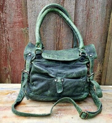 AMYLEE Vintage Made in Italy Green Leather Vera Pelle Satchel Crossbody Bag