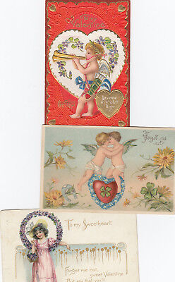 Lot Of 3 Vintage, Valentine Used Postcards, Two Posted, Two Embossed 1906-15 Era