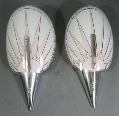 Vintage 50s art deco chrome/pink glass wall sconce light x 2 Hollywood glamour