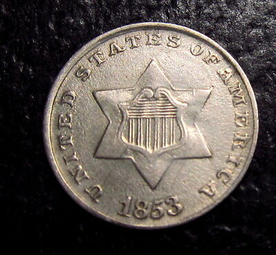 1853 Three Cent Silver Trime Big Die Crack On Reverse
